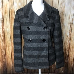 GAP gray striped wool coat button pea coat